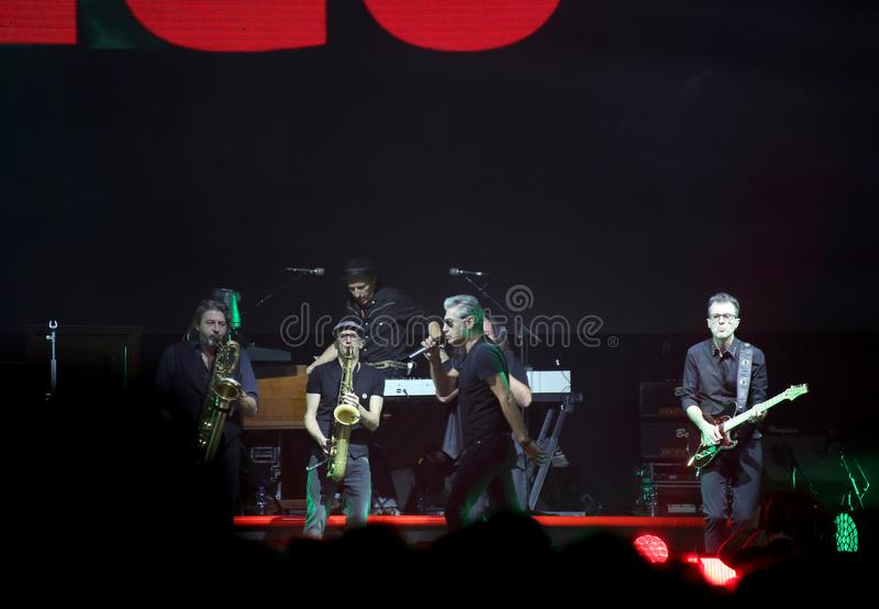 Padova, PD, Italy - October 20, 2017: Live Concert indoor of Luciano Ligabue an Italian singer. Padova, PD, Italy - October 20, 2017: Live Concert indoor of royalty free stock image