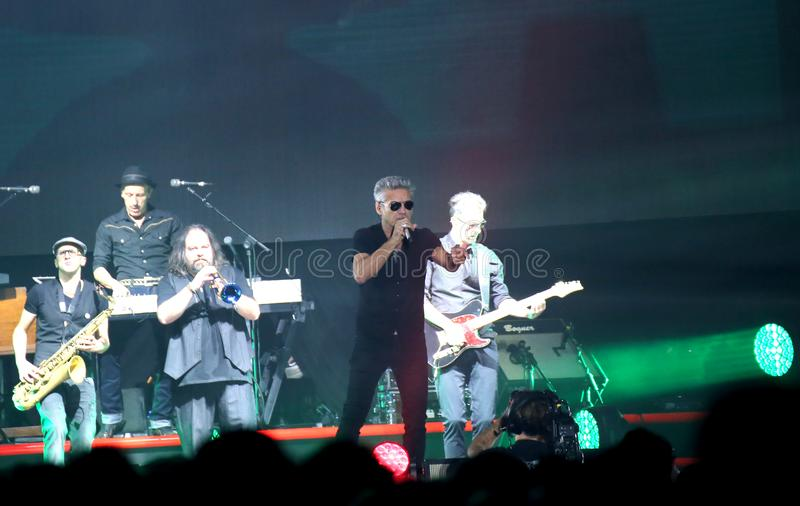 Padova, PD, Italy - October 20, 2017: Live Concert of Luciano Li. Padova, PD, Italy - October 20, 2017: Live Concert indoor of Luciano Ligabue an Italian singer royalty free stock photos