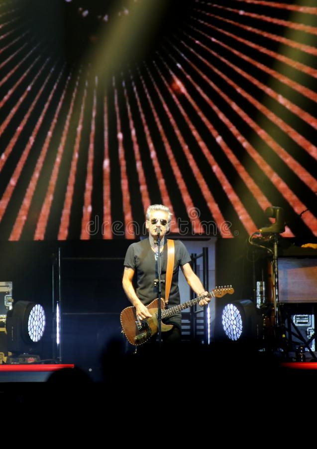 Padova, PD, Italy - October 20, 2017: Live Concert of Luciano Li. Padova, PD, Italy - October 20, 2017: Live Concert indoor of Luciano Ligabue a famous Italian stock photo