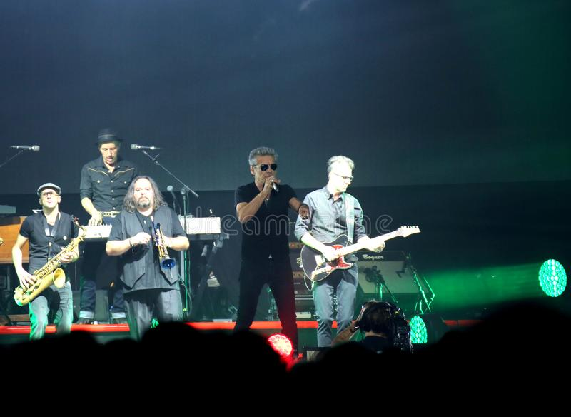 Padova, PD, Italy - October 20, 2017: Live Concert of Luciano Li. Padova, PD, Italy - October 20, 2017: Live Concert indoor of Luciano Ligabue an Italian singer royalty free stock photography