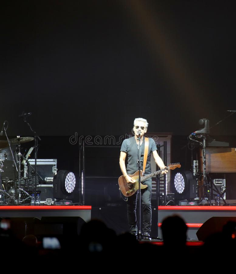 Padova, PD, Italy - October 20, 2017: Live Concert Luciano Ligabue an Italian singer. Padova, PD, Italy - October 20, 2017: Live Concert indoor of Luciano royalty free stock photos