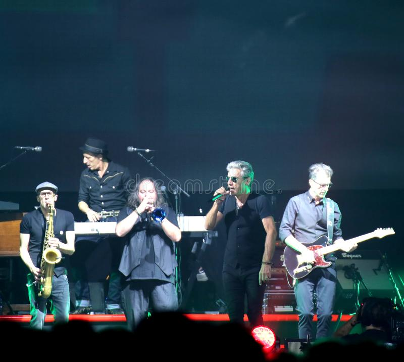 Padova, PD, Italy - October 20, 2017: Live Concert indoor of Luciano Ligabue an Italian rock singer and his band - editorial use. Padova, PD, Italy - October 20 stock image