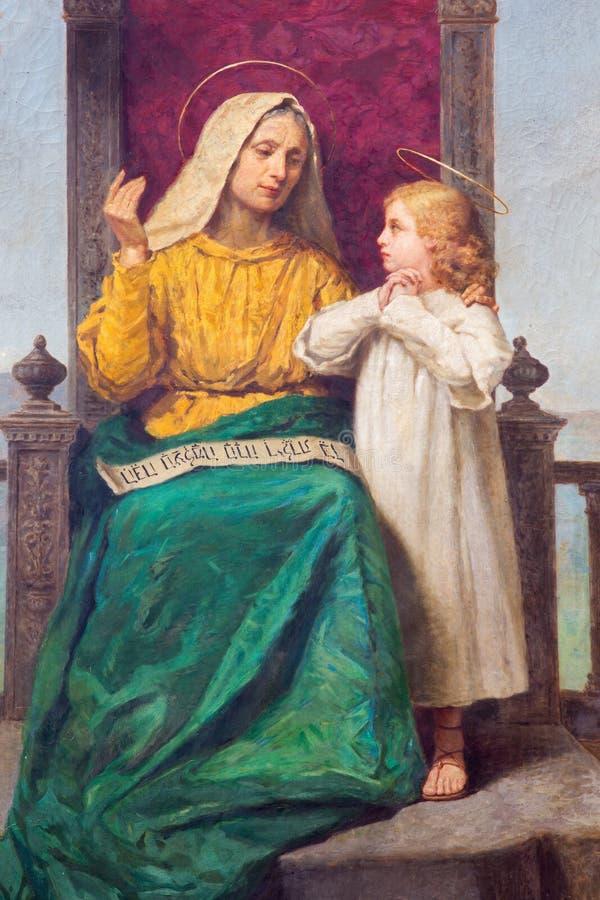 Padova - pittura di St Ann e di piccolo Maria in dei Servi di Santa Maria della chiesa dalla R Maluta da una conclusione di 19 ce fotografia stock libera da diritti