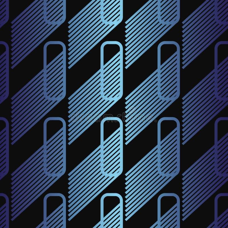 Padrão abstrato do vetor sem costura com retângulos arredondados e gradiente metálico ilustração stock