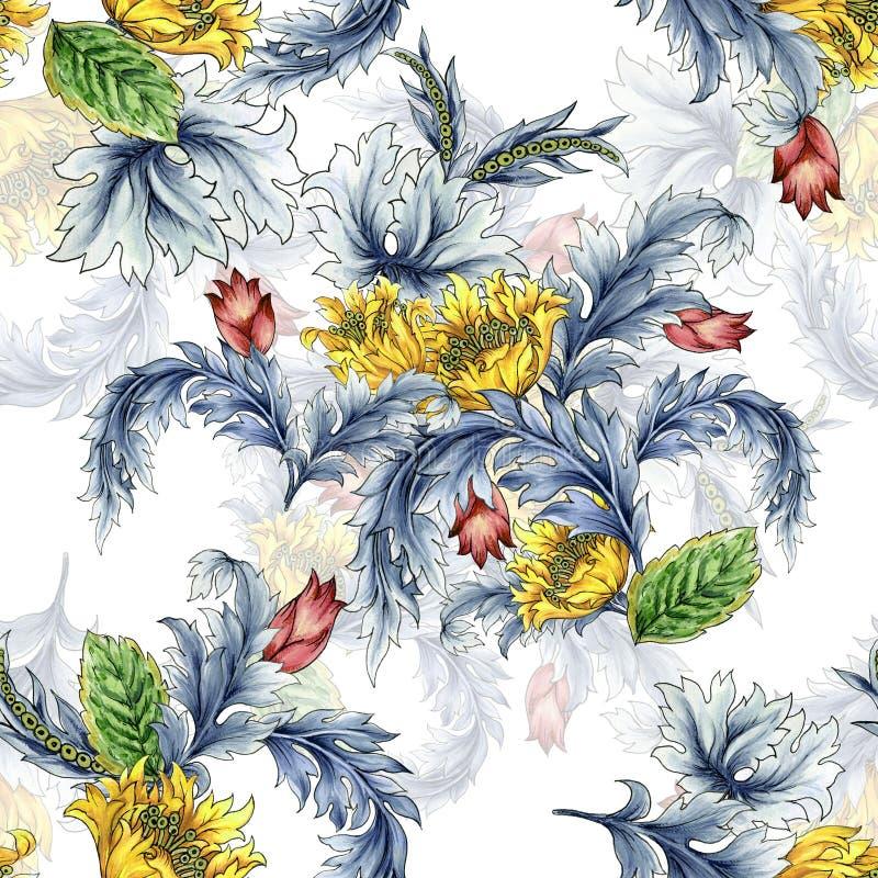 Padrão constante com fantasia abstrata Tulips flores e folhas do estilo ocidental Paisley ou Damask jacobean Watercolor Gouache ilustração royalty free