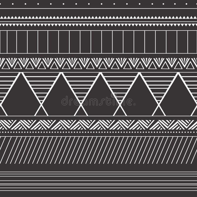 Padrão de colheita sem costura com motivos étnicos e tribais Design colorido da boêmia aztec Ilustração vetorial ilustração do vetor