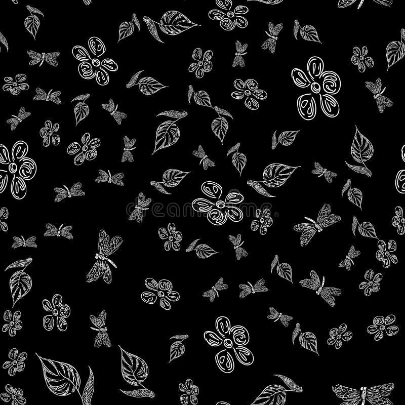 Padrão de desenho de papel de parede sem costura por lanterna com flores Placa abstrata retrô com a mão perfeita de libélula pret ilustração royalty free