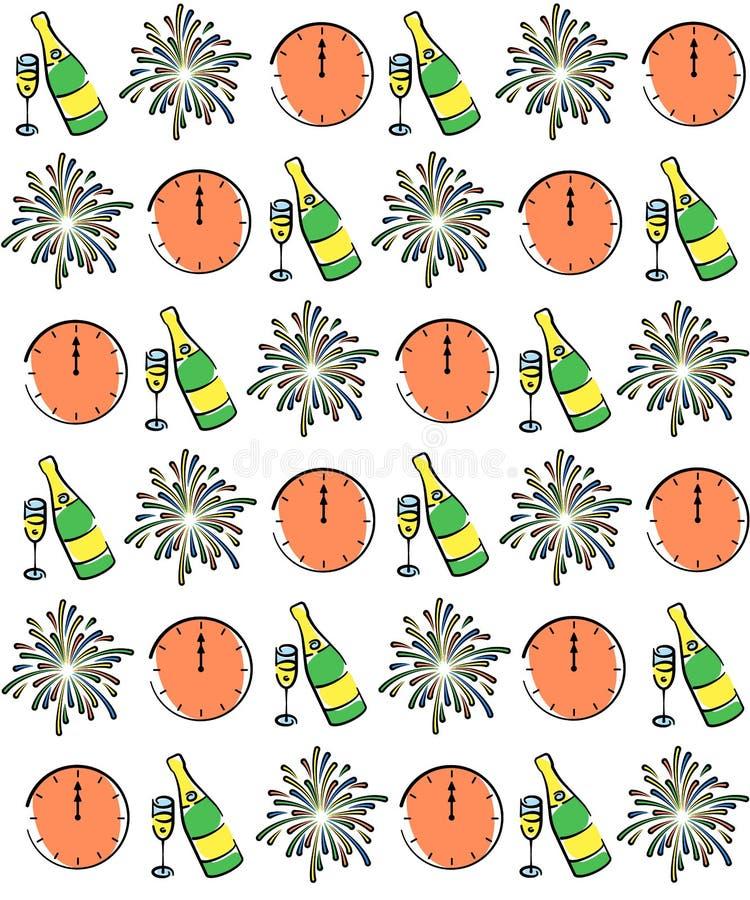 Padrão de desmontagem do vetor Desenho de saudação, fogos de artifício, champanhe e relógios 12 00 horas no relógio Natal abstrat ilustração stock