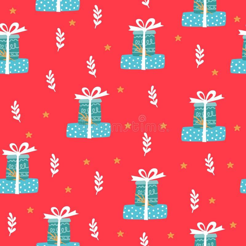 Padrão de férias de inverno sem costura vermelha Antecedentes festivos ilustração do vetor