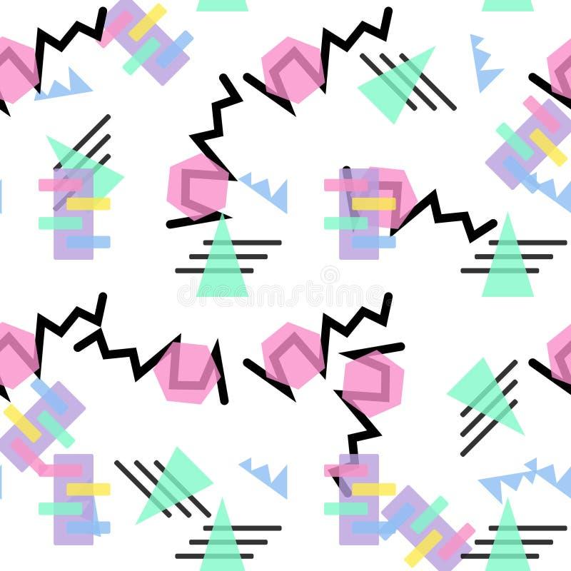 Padrão de Hipster - formas de linha geométrica de junção retrátil 80 s plano de fundo sem problemas do estilo de moda Ilustração  ilustração stock