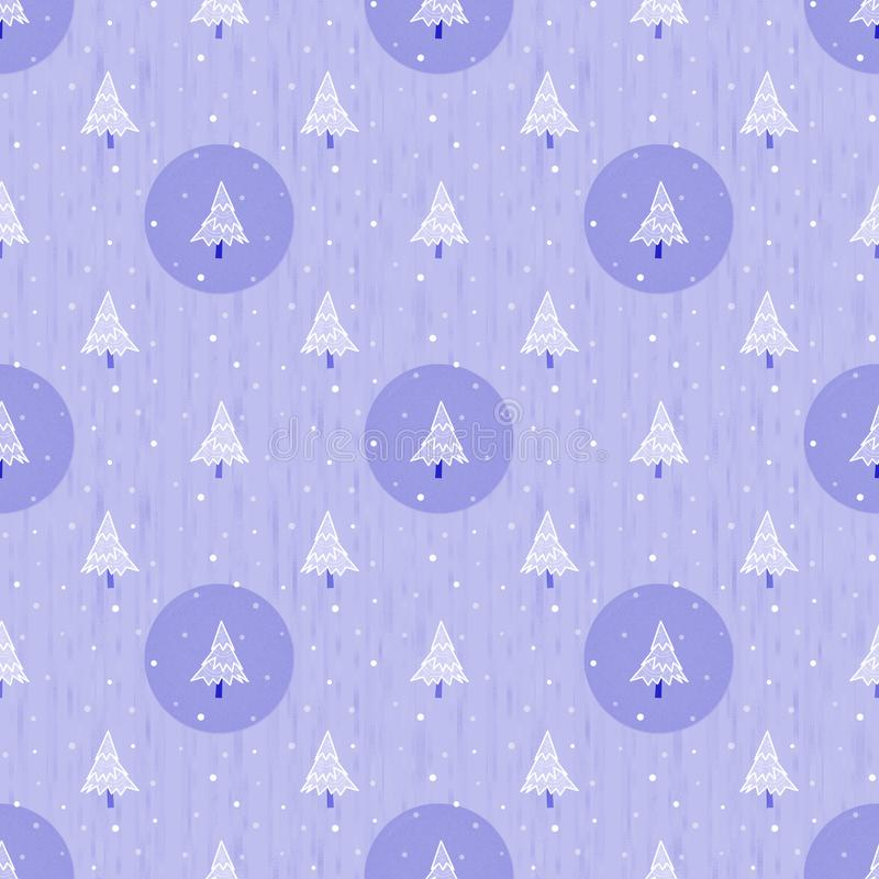 Padrão de natal perfeito ilustrado, plano de fundo violeta repetido com árvores de Natal ilustração do vetor