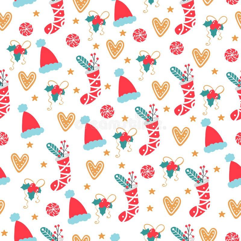 Padrão de Natal sem costura Plano de fundo vetorial com itens de feriado ilustração stock