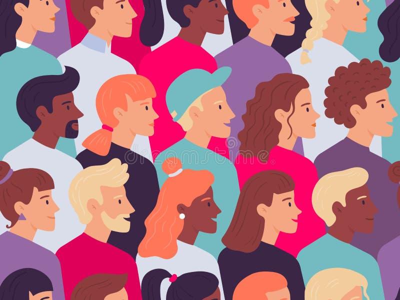 Padrão de pessoas de perfil constante Macho e fêmea rostos do lado do retrato multidão, jovem traça retratos vetoriais ilustração stock