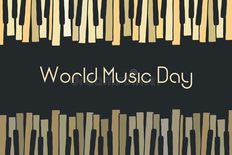 Padrão de rabisco vetorial com piano desenhado à mão, teclas de cravo Festa de dia de música mundial feliz piano musical Chaotic  ilustração stock