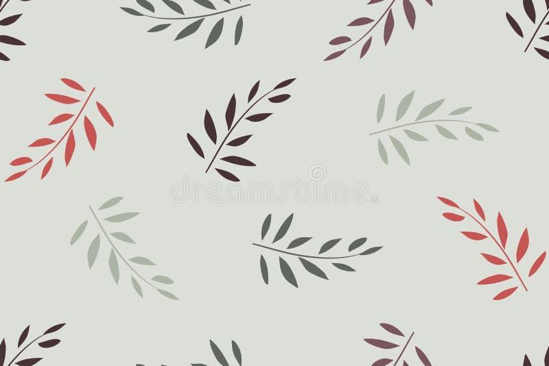 Padrão de transmissão contínua do vetor Vermelho, folhas de azeitona ilustração royalty free