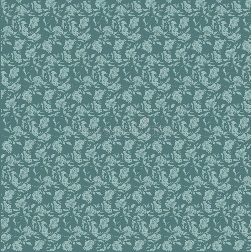 Padrão de vetor sem costura repete com fantasia floral em tons verdes lacustres e aqua ilustração royalty free