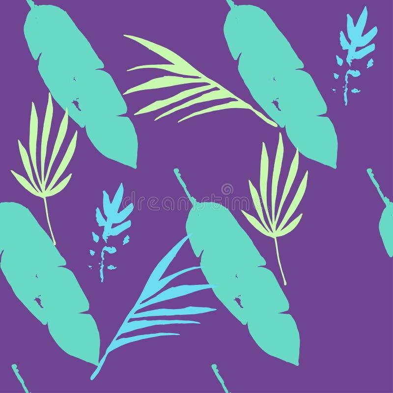 Padrão de Vetor Tropical de Trendy, Sem Olhos Fundo Floral Desenhado Linda camisa masculina Textura de vestimenta feminina ilustração stock
