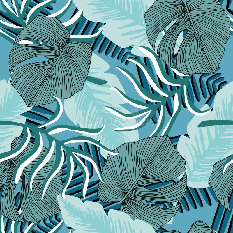 Padrão descontínuo de plantas do Havaí exóticas Papel de parede Padrão tropical, folhas de palma ilustração do vetor