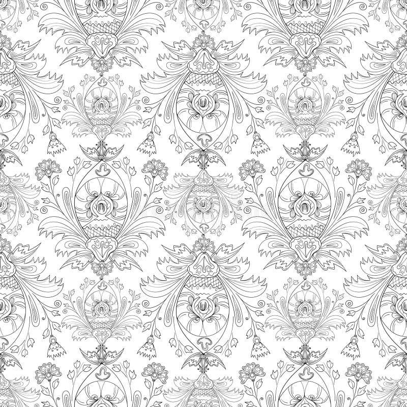 Padrão do estilo Damask, desenhado à mão, página colorida Um fundo vetorial sem descontinuidades Ornamento floral ilustração royalty free