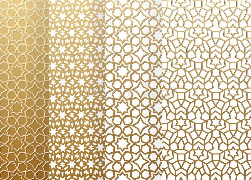 Padrão geométrico do conjunto sem costura Padrão islâmico arábico, ornamento leste, ornamento indígena, motivo persa, 3D Ramadã ilustração do vetor