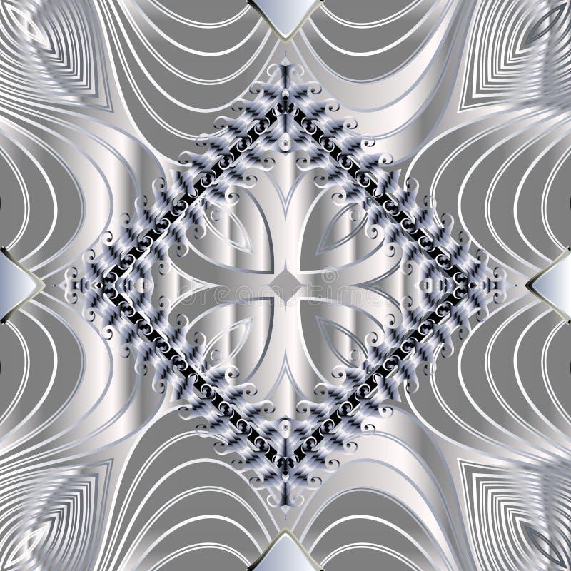 Padrão perfeito do vetor 3d moderno abstrato Fundo de prata fundamental Ornamento floral de linha texturizada com superfície ilustração stock