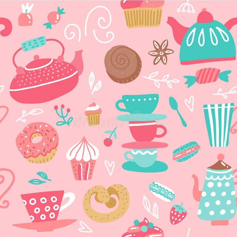 Padrão sem costura com chaleiras Copas, doces, doces Alimentos e bebidas Fundo vetor desenhado à mão feito em desenho animado de  ilustração do vetor