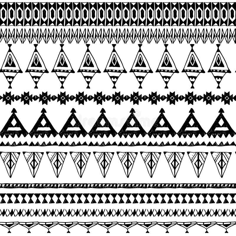 Padrão sem costura com ornamentos nativos de zigue-zague Fronteira étnica aztec Contorno preto sobre fundo branco Pode ser usado  ilustração do vetor