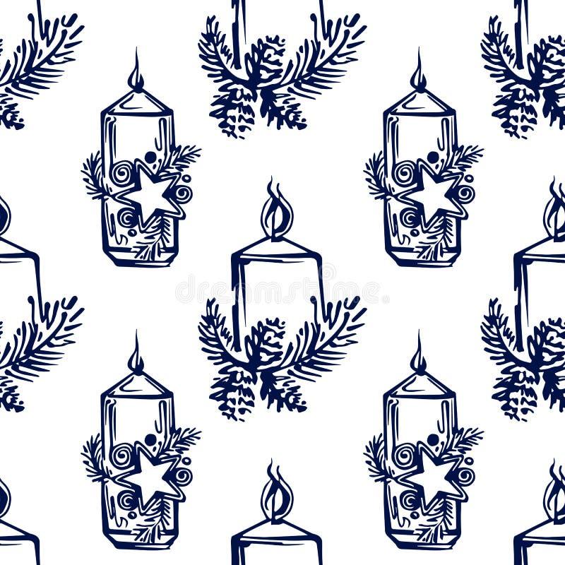 Padrão sem costura com velas de Natal desenhadas à mão sobre fundo branco ilustração royalty free