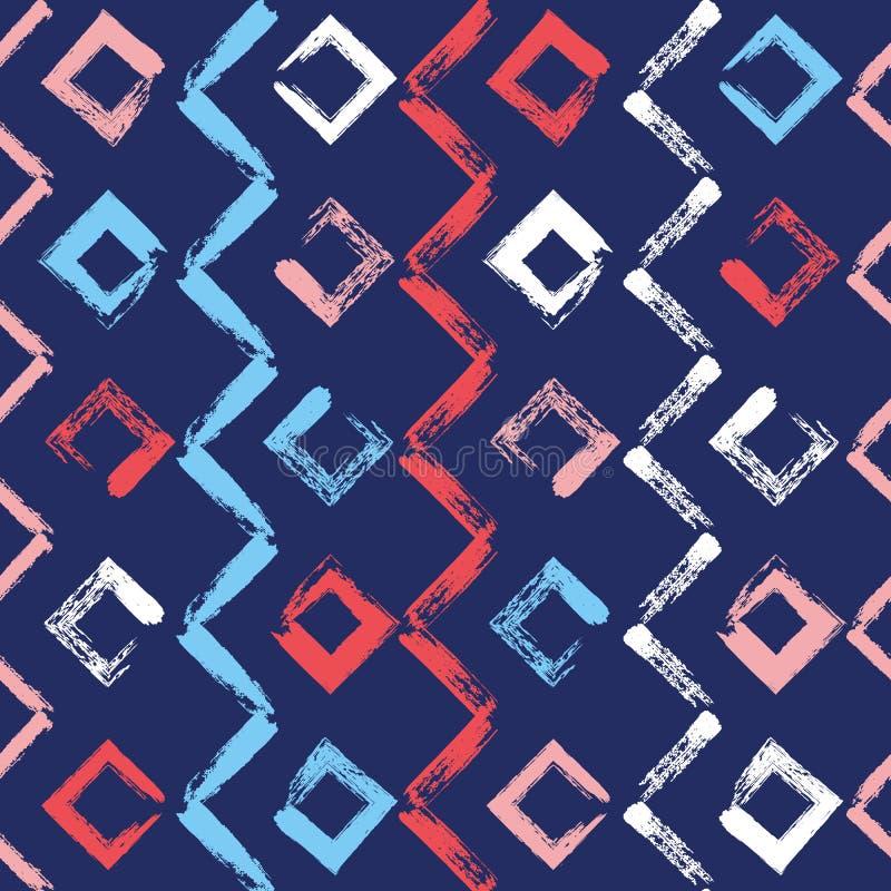 Padrão sem costura, desenhado à mão geométrica Linhas de tinta de zag de vetor Cor pintar cor pincel seco moldes abstratos traço  ilustração do vetor