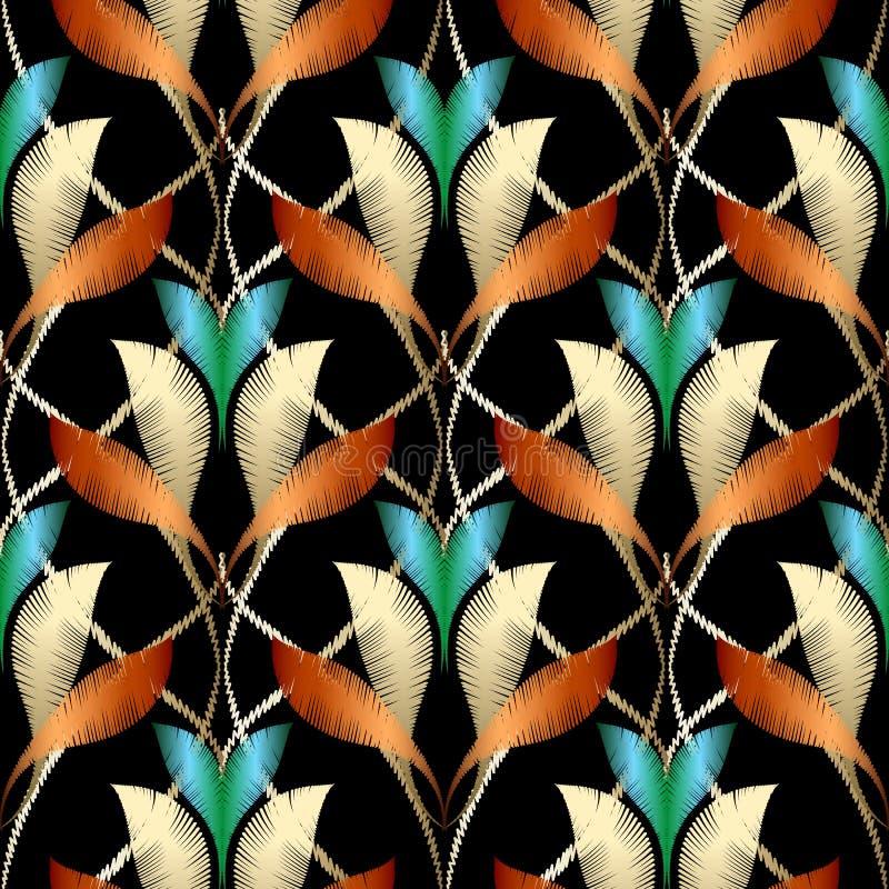 Padrão sem costura do vetor do bordado texturizado Elegance Fundo floral ornamental de luxo Ornamento colorido de tapeçaria ilustração do vetor