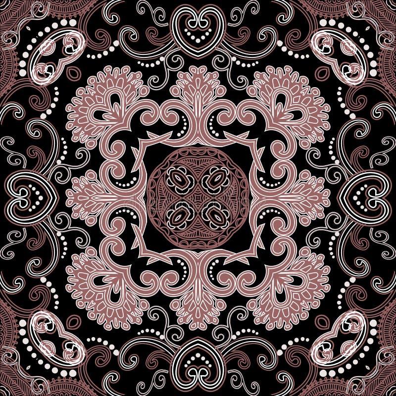 Padrão sem costura do vetor floral de elegância étnica Lace de fundo cor ornamental Linda repetição simétrica ilustração do vetor