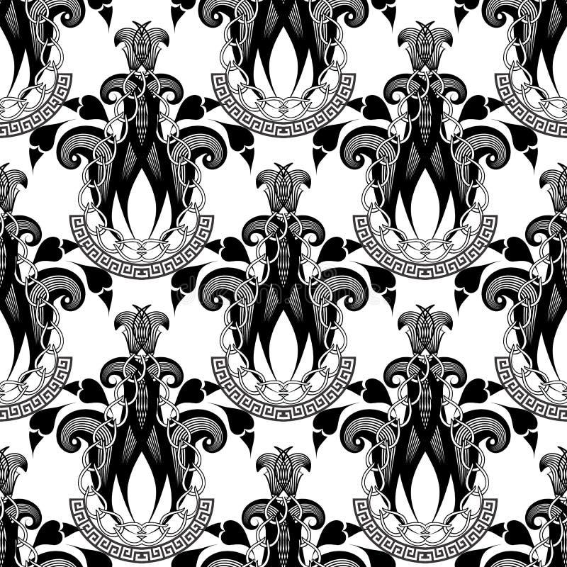 Padrão sem costura do vetor floral ornamental abstrato Elegance greek Key Significders ornamento com correntes Estileta elegante ilustração stock