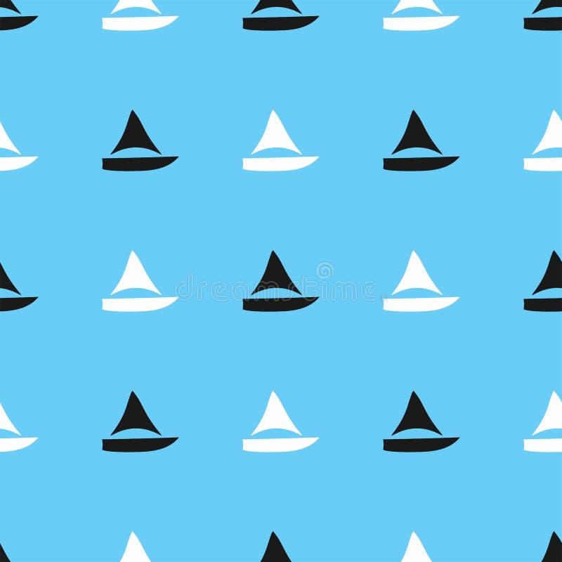 Padrão sem costura marinha Impressão simples com silhuetas de veleiros ilustração do vetor