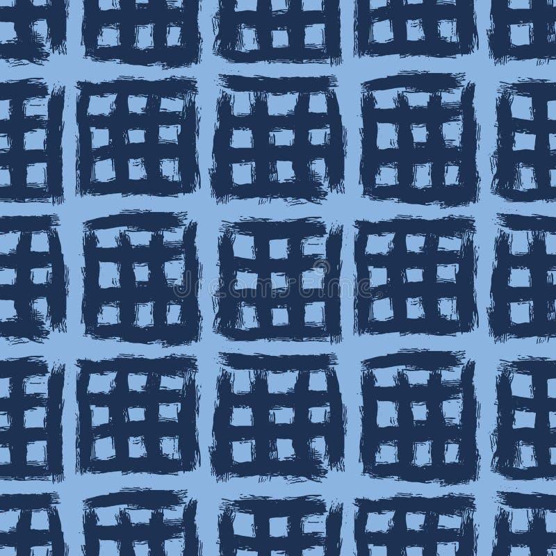 Padrão sem costura Plano de fundo da grelha de cruz azul-indigo desenhado à mão Pincel texturizado monocromático trava todo abstr ilustração stock