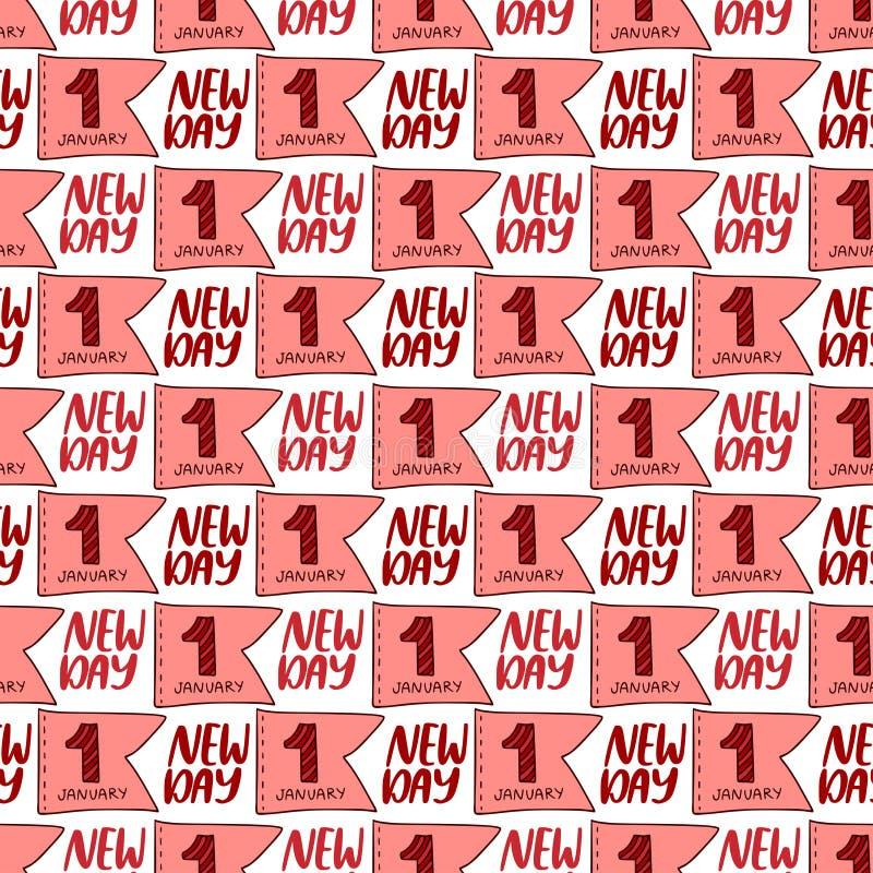 Padrão sem descontinuidades do ano novo Fundo do vetor tipográfico Novo padrão de ano para o design de backdrop da Web ilustração do vetor
