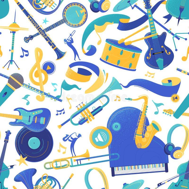 Padrão sem descontinuidades do vetor de instrumentos musicais ilustração royalty free