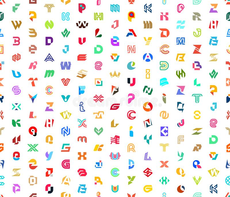 Padrão sem falhas com logotipos abstratos com letras fotografia de stock