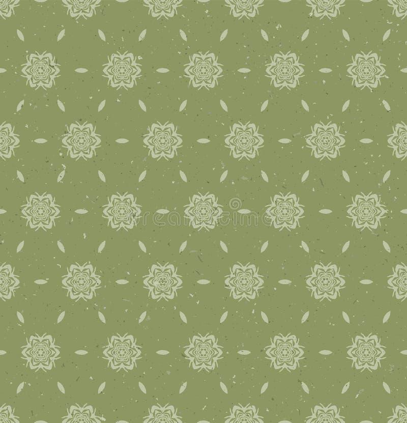 Padrão simples wagara damask desenhado à mão Motif japonês moderno, desenhado à mão em tons neutros de grama verde suave ilustração stock