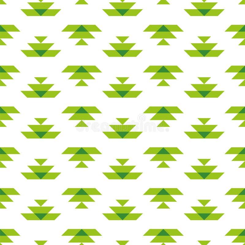 Padrão uniforme branco com elementos Aztec verdes ilustração stock
