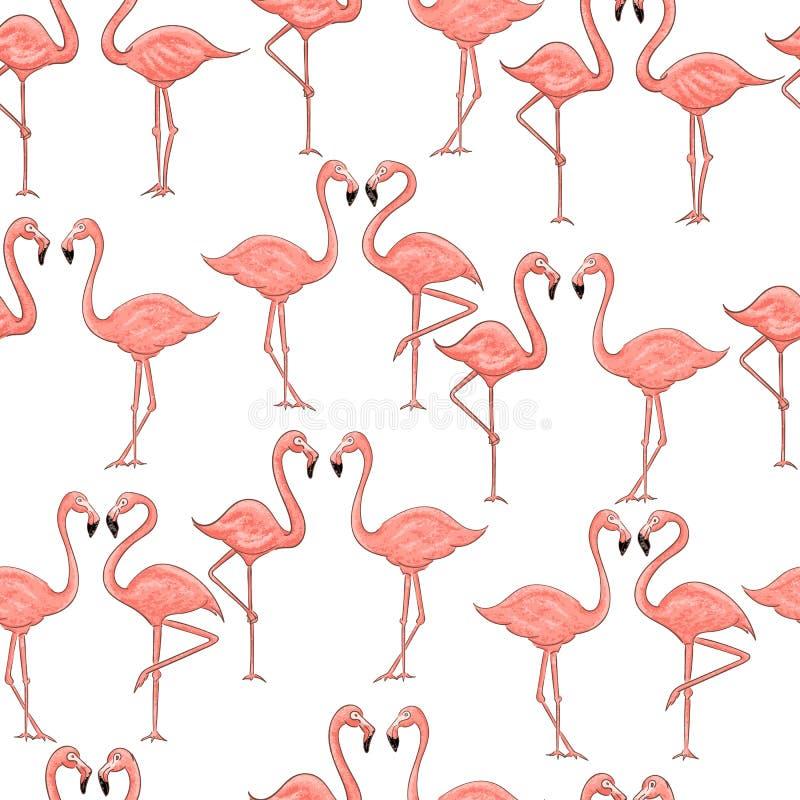 Padrão uniforme de desenho animado rosa flamingo sobre fundo branco ilustração stock