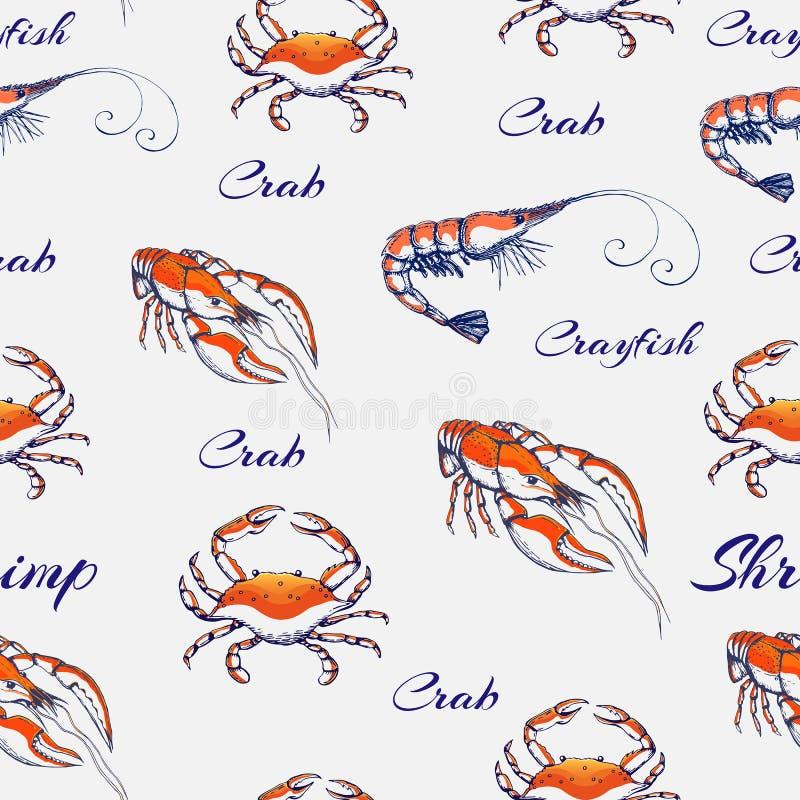 Padrões de marisco sem costura num pano de fundo cinzento suave fundo de marisco gravado desenhado à mão textura de animais do ma fotos de stock royalty free