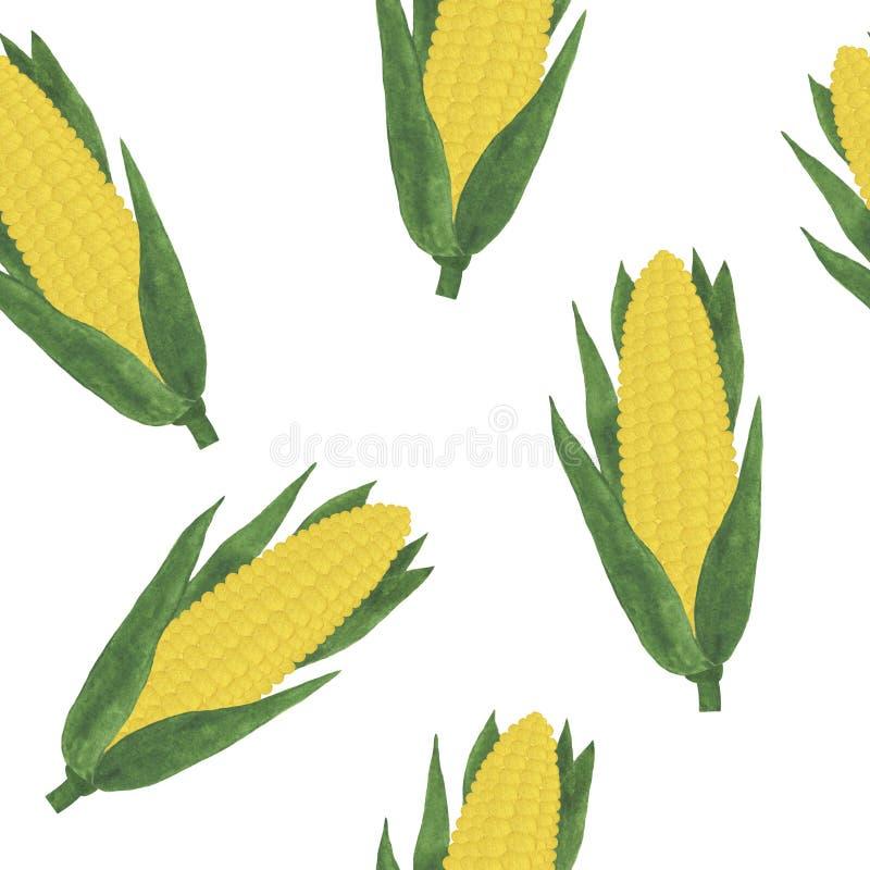 Padrões inteiros vegetais frescos milho ilustração aquarela vegetarianismo ingredientes para cozinhar ilustração royalty free