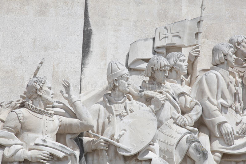 Padrao Dos Descobrimentos - Lisbon - Portugal. Closeup detail of some of the figures from the limestone monument (Padrao Dos Descobrimentos) in Lisbon's Belem royalty free stock image