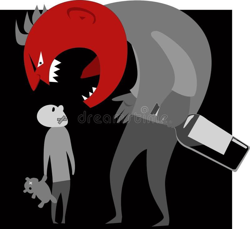 Padre alcohólico y un niño stock de ilustración
