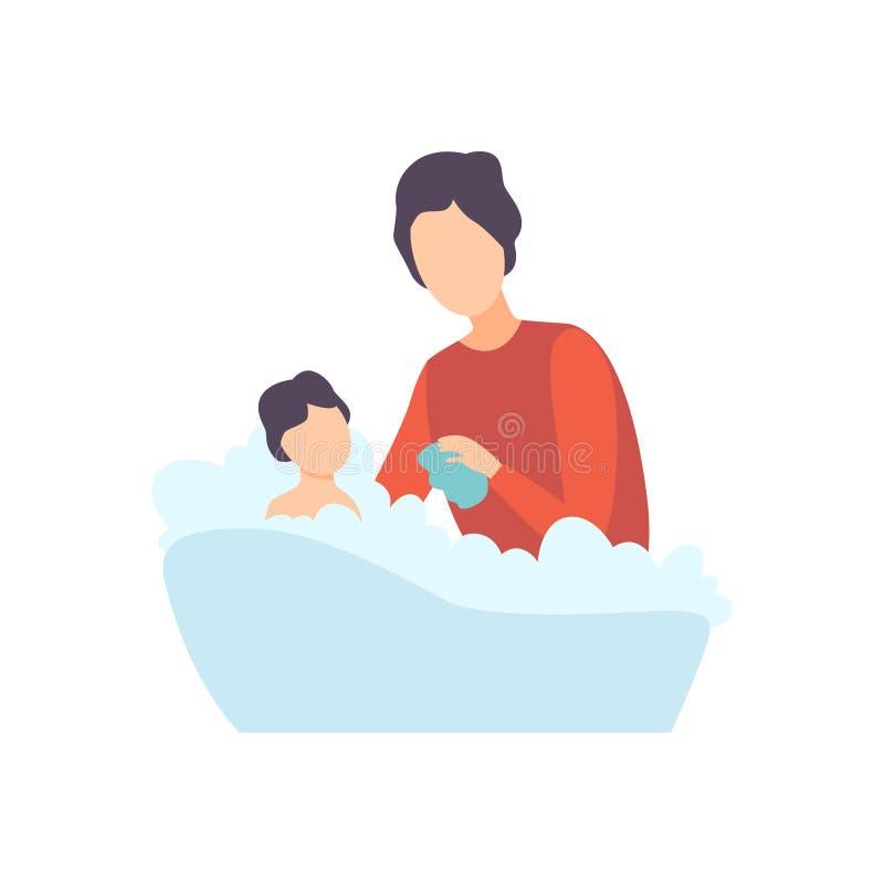 Padre Bathing Baby en bañera, padre que toma cuidado de su ejemplo del vector del niño libre illustration