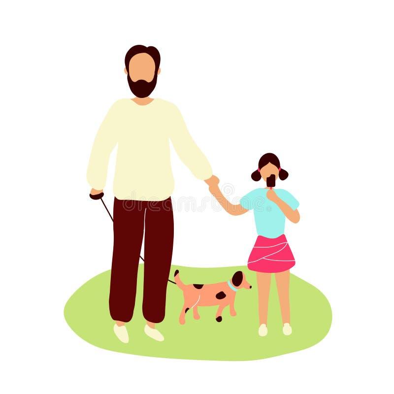 Padre che cammina con poca figlia illustrazione di stock