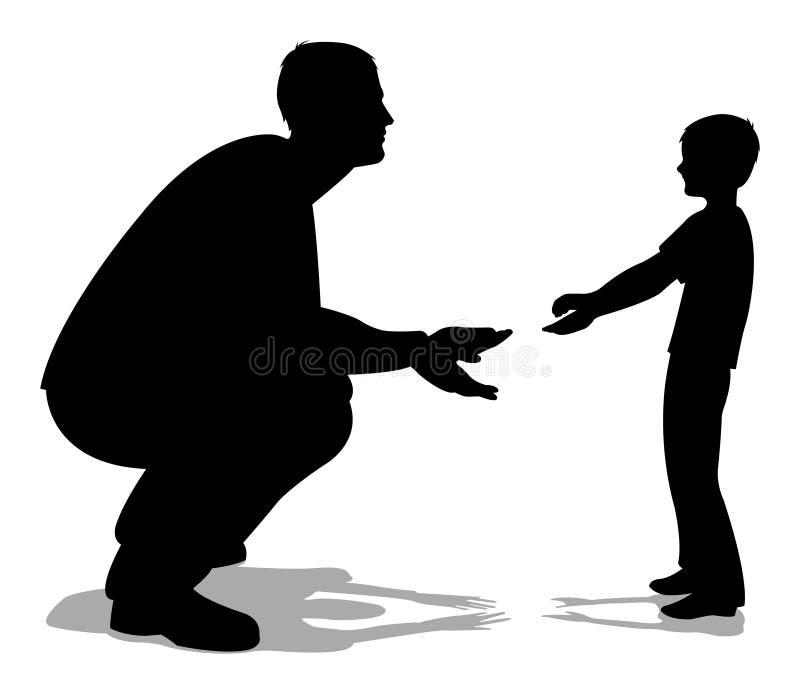Padre che comunica con la siluetta del figlio illustrazione di stock
