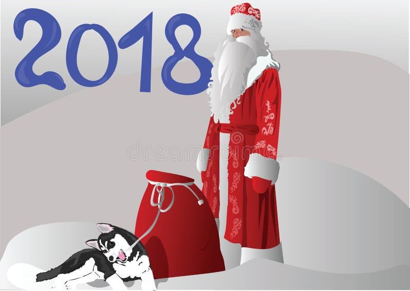 Padre Christmas con un perro esquimal del perrito fotografía de archivo libre de regalías