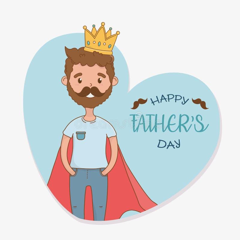 Padre con el carácter de la capa del superhéroe ilustración del vector