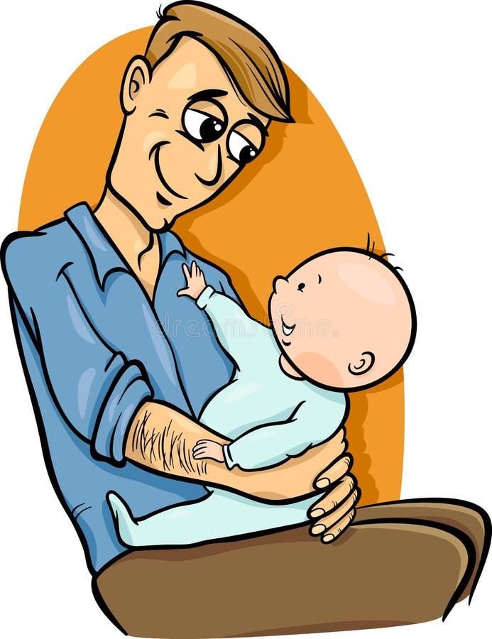 Padre con el ejemplo de la historieta del bebé ilustración del vector